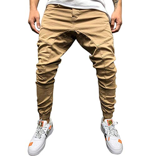 YiYLunneo Pantalones Hombre Pitillo Bolsillo Moda Pantalones Pantalón Trabajo Pantalones Vaqueros para Ajustado Harem Pantalones Trouser