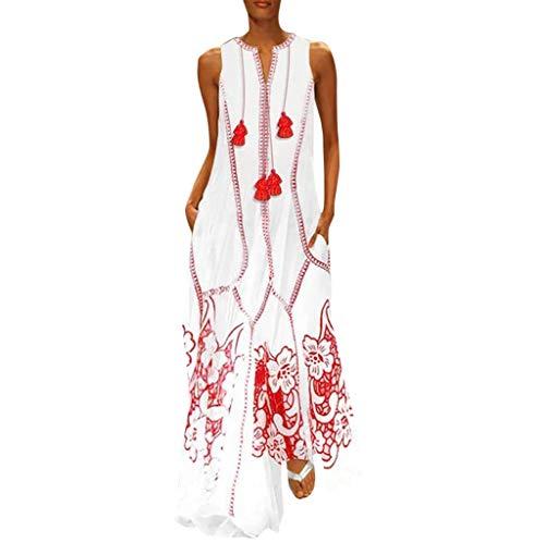 Zegeey Damen Kleid Retro ÄRmellos V-Ausschnitt BöHmen Blumen Drucken Sommer Maxikleid Sommerkleider Strandkleider Blusenkleid(A6-rot,EU-34/CN-S) (Gold Elfenbein Blumen-mädchen-kleider)
