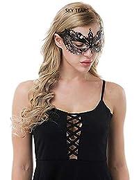 SKY TEARS Halloween de Masque Loup Venitien Femme Metal Masque Dentelle Sexy Masquerade Fête