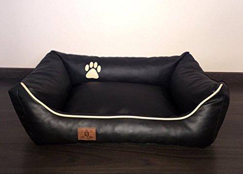 Hundebett Kunst Leder Luxus Hundebett Hundesofa Katzenbett Hundekorb S M L XL XXL XXXL Dollaro (L (ca. 90x70 cm), schwarz) - 4
