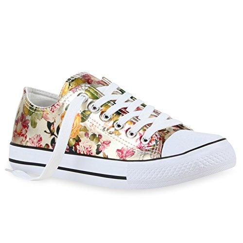 Sapatilhas Das Senhoras Baixos Sapatos Estampas Florais Lazer Sapatilhas De Ouro