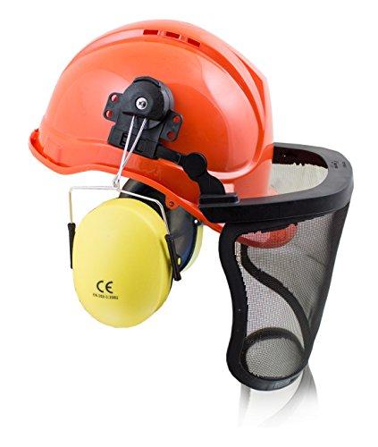 BITUXX® Forstschutzhelm Arbeitsschutzhelm Sicherheitshelm Helm Bauhelm Schutzhelm mit Visier Gesichtsschutz und Gehörschutz (Schutzhelm Mit Kinnriemen)