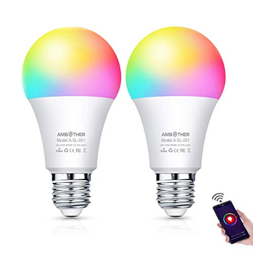 AMBOTHER Smart WiFi Lampen E27 LED Smart Wlan Glühbirnen RGB+CW+WW Dimmbar Timing Fernbedienung via APP & Sprachsteuerung Kompatibel mit Amazon Alexa Google Home LED Smart Home Licht 9W 800LM 2er Pack