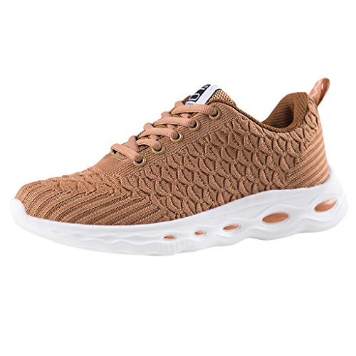 COZOCO Damen Oversize Mesh Sneakers Einfarbig Fischschuppen Freizeitschuhe Atmungsaktive Sportschuhe Leichte Laufschuhe Wanderschuhe(Braun,38 EU)