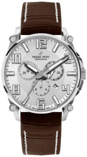 Pierre Petit Le Mans P-827B - Reloj cronógrafo de cuarzo para hombre, correa de cuero color marrón (cronómetro)