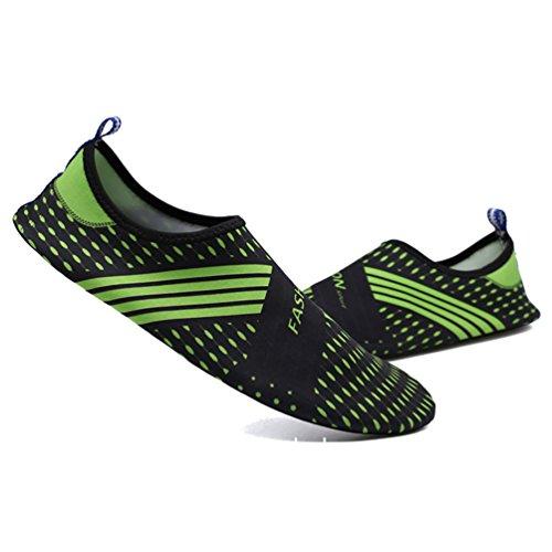 LvRao Damen Und Herren Strandschuhe Elastischen Material Aquaschuhe Meer Flusswasser Schuhe Wasserschuhe Schwarz Grün
