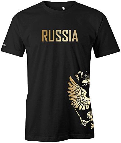 WM 2018 - Russland - Russia - Adler Gold - Fanshirt - Herren T-Shirt in Schwarz by Jayess Gr. M