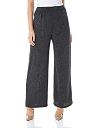 a0986d4e0c6 Roman Originals Women Crinkle Wide Leg Trousers - Ladies Palazzo Smart  Casual Everyday Urban Cool Fashionable Stretch Wider…