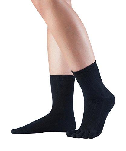 Knitido Essentials Midi Zehensocken, kurze fünf finger Socken aus Baumwolle, für Damen und Herren, Größe:39-42, Farbe:Black
