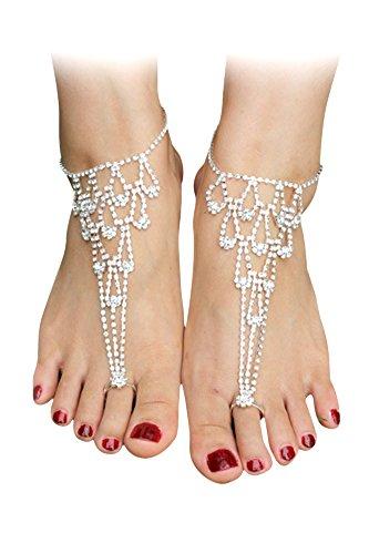 1 Paar-Frauen-Dame-Brautbrautjunfer Hochzeit Latein Tanzen Strass Hand Knöchel-Armband-Kette barfüßigsandelholze Sommer-Strand-Schuhe Fuss-Schmucksachen