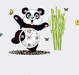 Panda Reloj de Bambú Reloj de Alarma Tridimensional 3D Dormitorio de Dibujos Animados Sala de estar Sala de Niños Fondo Decorativo Etiqueta de La Pared 90 X 68 CM