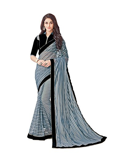 Dubai Creation women\'s Net Gray color saree for party wear and latest design With Blouse Piece