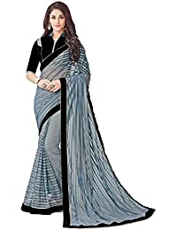 Dubai Creation Women's Net Gray Color Saree For Party Wear And Latest Design With Blouse Piece