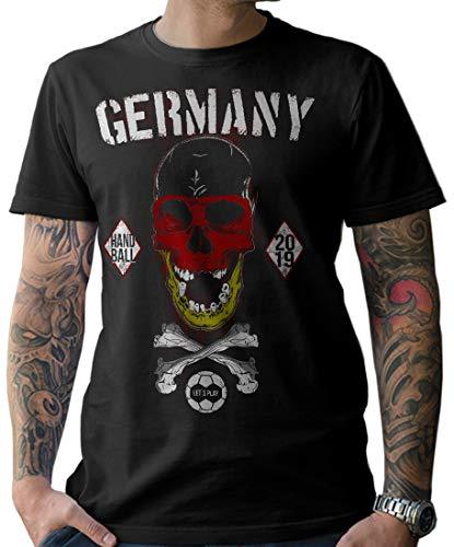 NG articlezz Herren T-Shirt Shirt Handball Skull Fanshirt WM 2019 Deutschland Germany