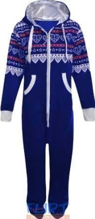 Unisex Onesie All in One Mens Womens One Piece Jumpsuit Playsuit Girls Ladies Aztec Print Top Hood Hooded Zipper Trousers Sweatshirt Zip Up Jumper Baggy Trouser Suit New UK Size S/M & M/L Fits 8 10 12 14 (S, AZTEC HEART CREAM)