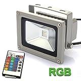 Deckey®10W LED Projecteur Exterieur Murale RGB Projecteur Panneau Etanche IP65 Elcairage Multicolore 16 Couleurs de Changement Light Jardin avec Télécommande (Gris)