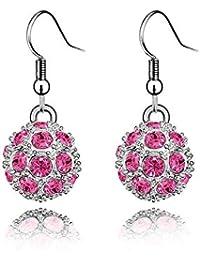Crystal Diamond Accent Shambhala Lucky Ball Earrings Made with Swarovski Crystal, with a Gift Box