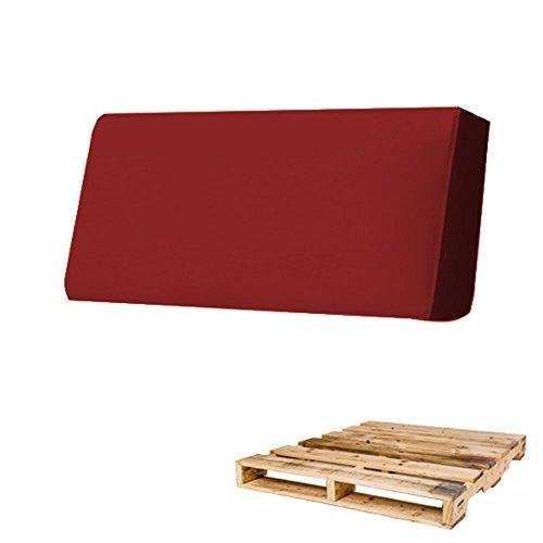 Arketicom Cuscino per Pallet Bancali Schienale 80x30x15 Rosso Scuro Arredamento Esterno Moderno divani Giardino bancale Cuscini sfoderabili Ecopelle Gomma Piuma Poliuretano