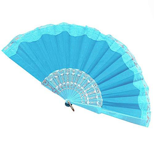 YEARNLY Kunststoff Flower Muster Lady Spitzenbesatz Hand Faltbare Fan Weiß Handfächer,zusammenklappbar,für Zuhause, Hochzeit, Basteln, Dekoration