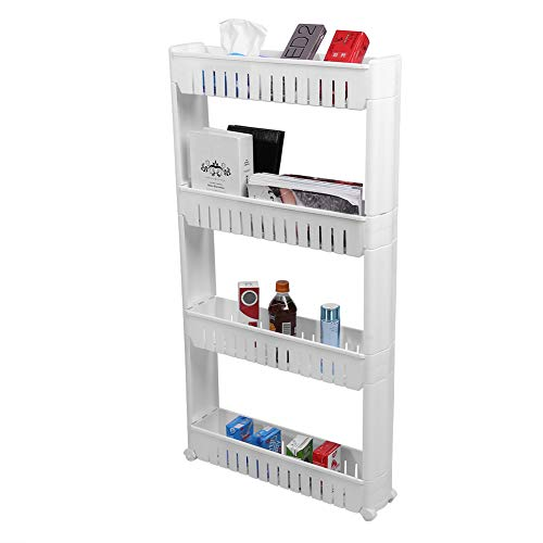 4 Tiers Slide Out Slim Tower Küche Wäscherei Space Saver Speicherorganisator Weiß 57,00X 32,00X16,00CM - 4 Regal Space Saver