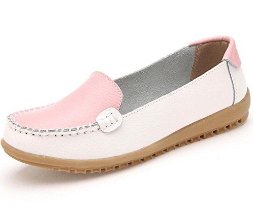 Transer® Damen Mokassins Frühling/Herbst Casual Schuh PU-Leder+Tendon Sandelholz Slipper (Bitte achten Sie auf die Größentabelle. Bitte eine Nummer größer bestellen. Vielen Dank!) Rosa