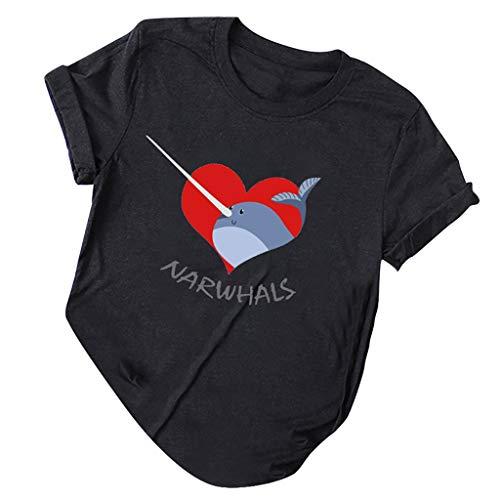 routinfly Frauen Kurzarm T-Shirt,Brief Kurzarm Damen T-Shirt O-Ausschnitt Kurzarm Plus Size Tee Casual Top Lässiges Top im schlichten Stil Herz drucken -