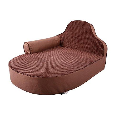 YNZYOG Katzen und Hunde Haustierbett/Matte Sofa Style Oxford Tuch Silber Grau Braun mit Kissen + Kopfstütze Abnehmbar Sauber (Farbe : Dunkelbraun)