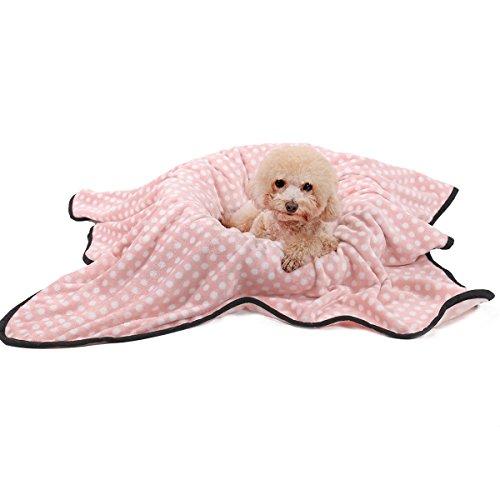 OHANA Softe und Warme Haustierdecke Hundedecke Katzendecke Punkt Fleece Decke für Hund Welpen und Katzen Waschbar Größe und Farbe Wählbar -