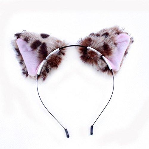 (Autone Fuchs Katze mit Haar-Clip, Tier-Cosplay Halloween-Kostüm, leopard)