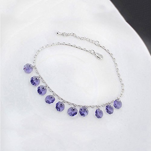 Femme Mode Alliage Crystal Pendentif Bracelet Pieds Purple