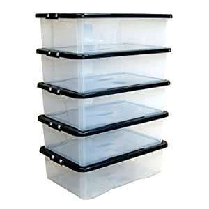 Plastic Storage Boxes Chest Under Bed Lid Drawer Organiser Container Case x5