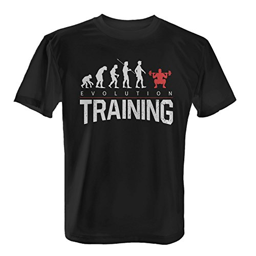 Fashionalarm Herren T-Shirt - Evolution Training | Fun Shirt mit lustigem Motiv für Sport Fitness Studio Workout Krafttraining Body Building Schwarz