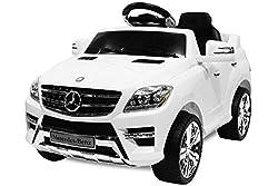 Toyas Lizenz Kinderfahrzeug Mercedes Benz Jeep SUV ML350 Kinderauto Elektroauto 2X 25W Motor Fernbedienung MP3 Anschluss in Weiss
