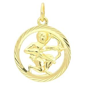 MyGold Sternzeichen Anhänger Schütze (Ohne Kette) Gelbgold 333 Gold (8 Karat) Diamantiert Innen Offen Ø 15mm Rund Tierkreiszeichen Horoskop Goldanhänger Geschenke Geschenkideen Gavno A-04433-G302-Sch