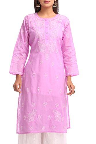 ADA Handmade Lucknow Chikan Regular Fit Cotton Kurti Kurta ( A231691 _Mauve)
