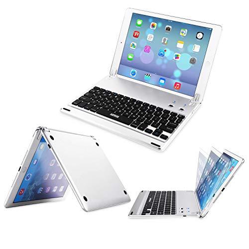 Arteck Tastatur für iPad 9.7 (iPad 6, 2018/iPad 5, 2017), Arteck QWERTZ für Apple iPad Bluetooth mit eingebautem Ständer für Apple iPad 6, iPad 5, iPad Air mit 130 Grad Verstellbarer Drehung