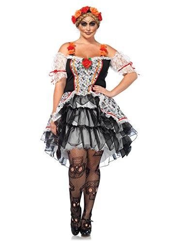 LEG AVENUE 85557X - Sugar Skull Kostüm-Set, Damen Fasching, 3X-4X, Mehrfarbig (Sugar Kostüm Skull)