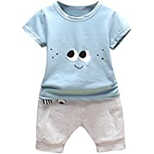 Conjuntos Recien Nacido Ropa , ❤️ Amlaiworld 2PC Conjunto Ropa Bebe Recien Nacido Verano 0-24 meses Niños Ojos de Dibujos Animados Camisetas y Pantalones