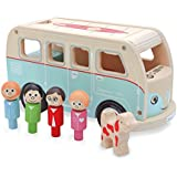 Indigo Jamm Colin's Camper Van - Wooden Toy Complete With 4 Wooden People & Wooden Dog