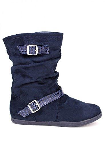 Cendriyon, Bottine daim blue ELLALUX Chaussures Femme Bleu
