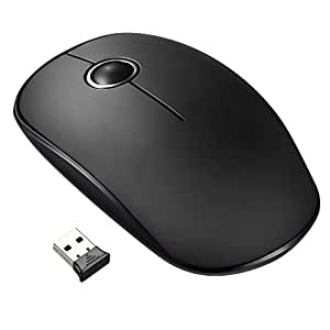 VicTsing Wireless Mouse 2.4G USB Ultra-Slim Laptop Mouse, Compact & Smooth Optical Computer PC Cordless Mice with Silent Click Buttons, Plug & Play Nano Receiver for Windows Mac Macbook Linux etc.- Intelligent Energy Saving, Black