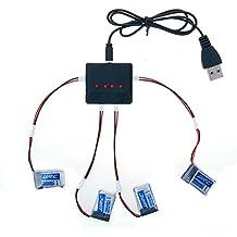 kingtoys® RC Drone Batería 4pcs 3.7V 150MAH Batería y 4 en 1 Cargador Cable de Conversión para JJRC H36 Quadcopter