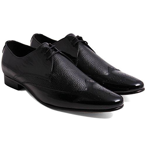 Unze Stac' Hommes cuir Formel bureau bureau Lacets chaussure Noir