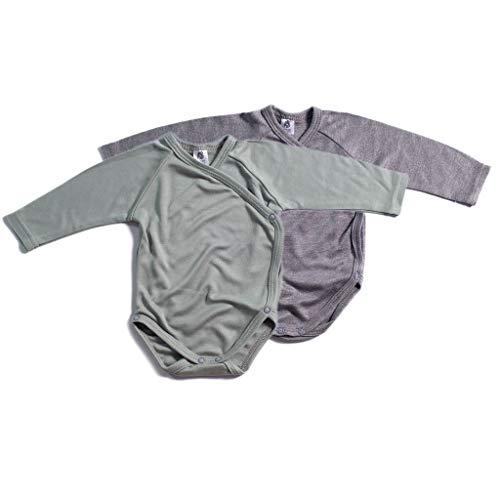 Booboobro Jungen Baby Langarm Wickelbody im 2er Pack 100% Bambus (Grau/Grün 68) 2er Pack Bambus