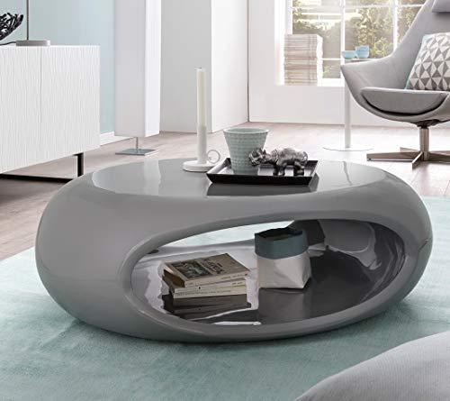 SalesFever Couchtisch Hochglanz oval UFO grau -