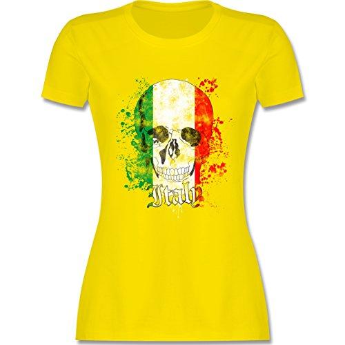 EM 2016 - Frankreich - Italy Schädel Vintage - tailliertes Premium T-Shirt mit Rundhalsausschnitt für Damen Lemon Gelb
