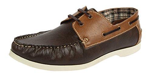 Spunk Men's Brown Canvas Boat Shoes