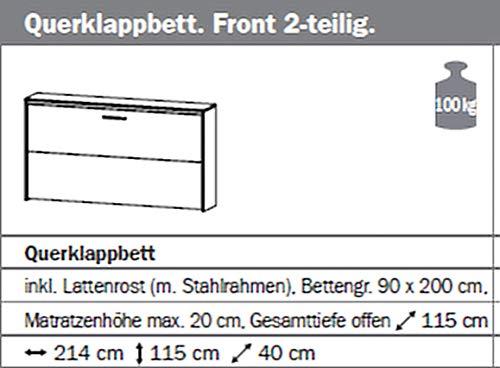 Querklappbett alpinweiß Klappbett Querklappbett Schrankbett Bett 90×200 NEU - 3