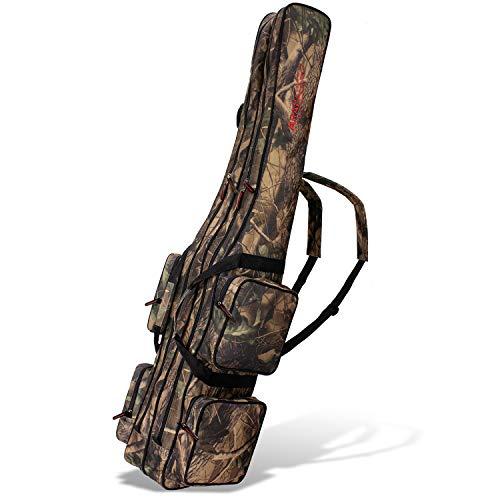 Angel Tasche Futteral Rutentasche Fishing Rucksack - Camouflage 2 Innenfächer - 150 cm