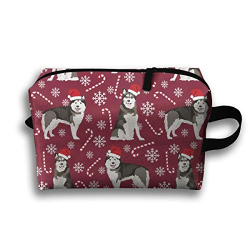 Makeup Cosmetic Bag Alaskan Malamute Christmas - Cute Dog Breed Design with Presents, Candy Canes, Food, Xmas Holiday_19700 Medicine Bag Zip Travel Portable Storage Pouch for Adult 10